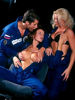 Three horny chicks in amazing astronaut alien orgy in Uranus